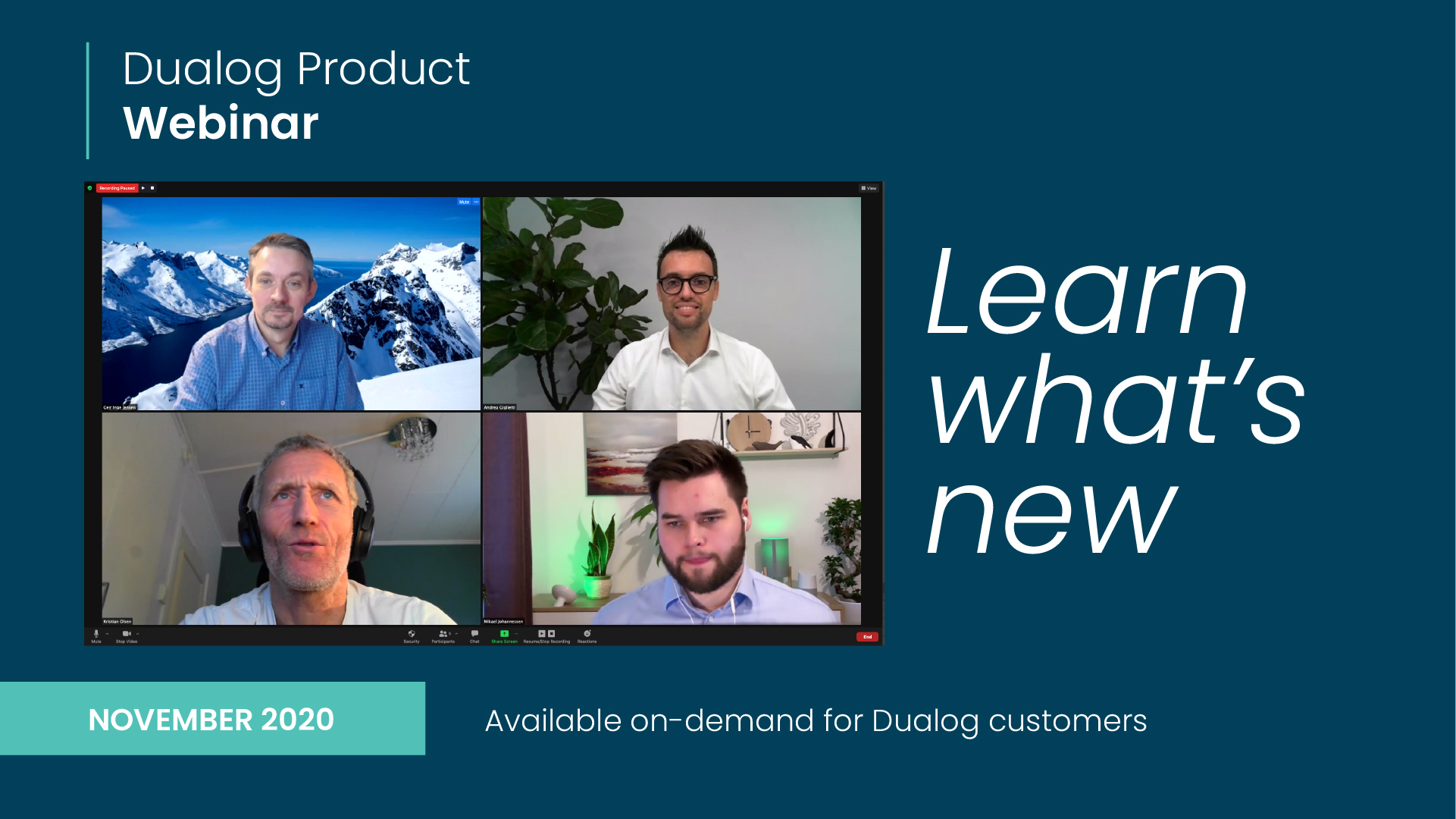 Dualog Product Webinar - November 2020